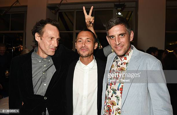 Dan Macmillan Marlon Richards and guest attend Dan Macmillan Daisy Boyd's engagement party at River Cafe on October 9 2016 in London England