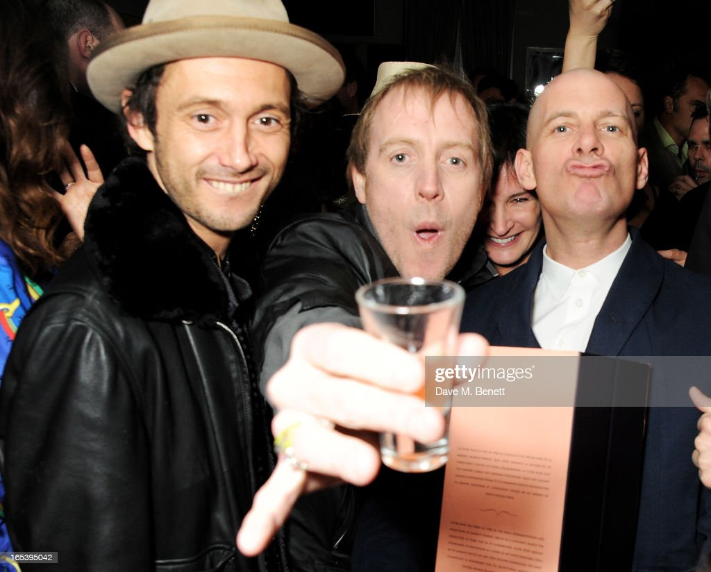 Dan Macmillan, Rhys Ifans and Paul Rowe attend event planner Paul Rowe's 40th birthday party at The Groucho Club on April 3, 2013 in London, England.