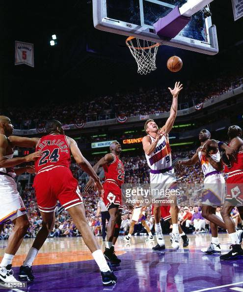 Dan Majerle of the Phoenix Suns goes for a layup against the Chicago Bulls in Game Six of the 1993 NBA Championship Finals at America West Arena on...