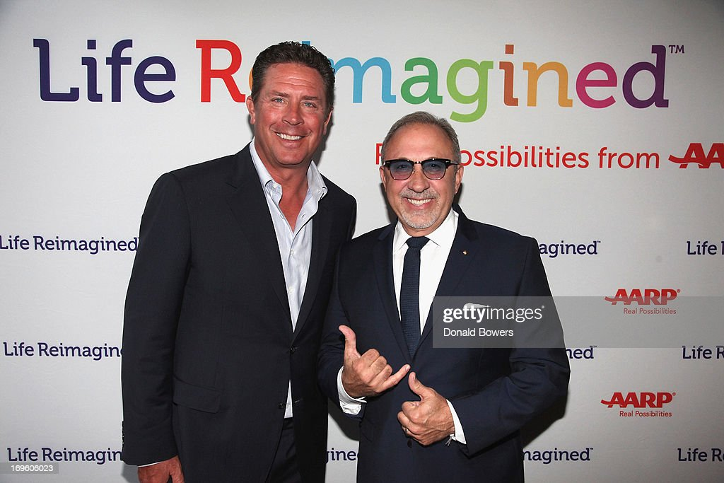 Dan Marino and Emilio Estefan attend The Launch of AARP's 'Life Reimagined' hosted by Emilio Estefan and Dan Marino at La Bottega Trattoria at The Maritime Hotel on May 28, 2013 in New York City.