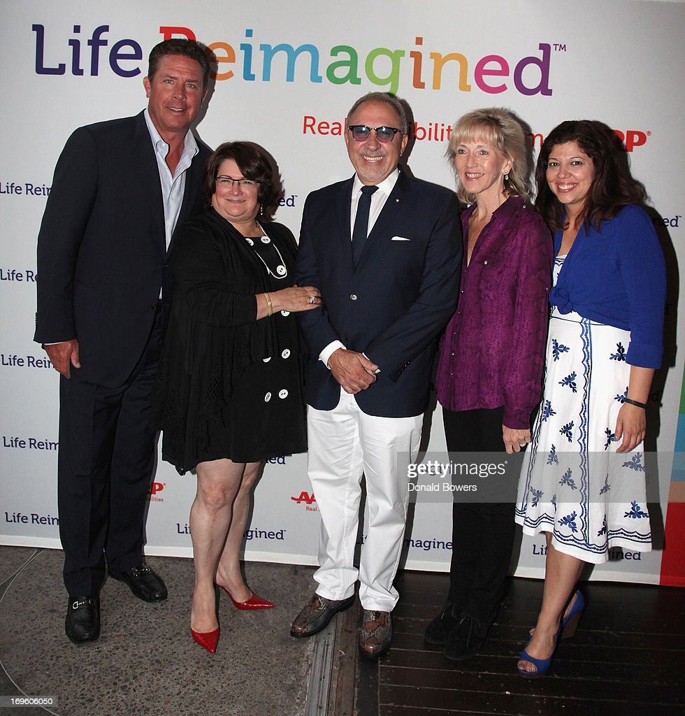 Dan Marino, Lorraine Cortes, Emilio Estefan, Nancy Graham and Rocky Egusquiza attend The Launch of AARP's 'Life Reimagined' hosted by Emilio Estefan and Dan Marino at La Bottega Trattoria at The Maritime Hotel on May 28, 2013 in New York City.