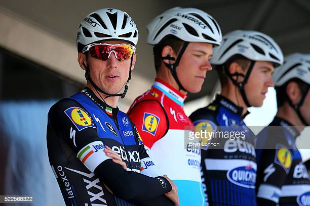 Dan Martin of Ireland and Etixx Quick Step looks on before the start of the 80th La Fleche Wallonne a 196 km race from MarcheenFamenne to Huy on...