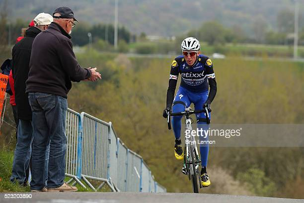 Dan Martin of Ireland and EtixxQuickStep rides up the climb of La Redoute during training for the 2016 LiegeBastogneLiege race on April 22 2016 in...