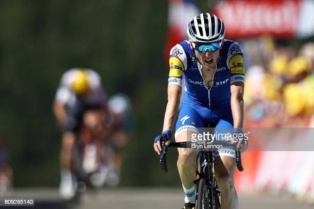 Dan Martin of Ireland and QuickStep Floors crosses the line to finish second on stage five of the 2017 Tour de France a 1605km road stage from Vittel...