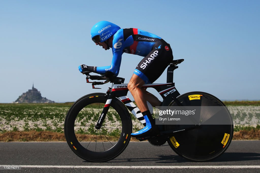 Dan Martin of Ireland and Team Garmin-Sharp rides during stage eleven of the 2013 Tour de France, a 33KM Individual Time Trial from Avranches to Mont-Saint-Michel, on July 10, 2013 in Mont-Saint-Michel, France.