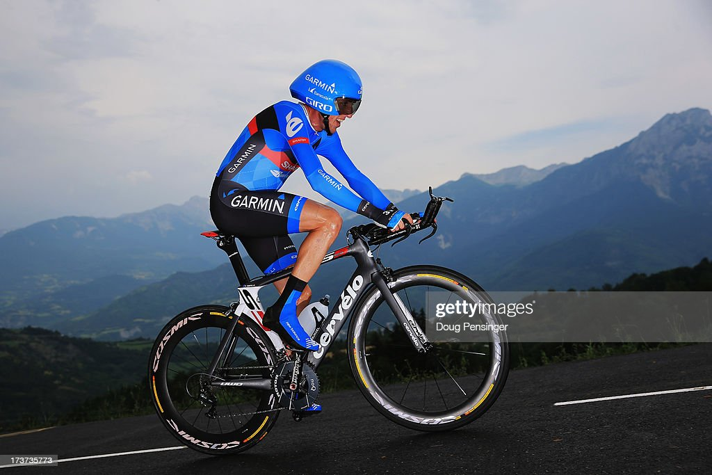 Dan Martin of Ireland and Team Garmin-Sharp rides during stage seventeen of the 2013 Tour de France, a 32KM Individual Time Trial from Embrun to Chorges, on July 17, 2013 in Chorges, France.