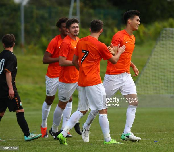 Dan Matsuzaka of Southend United celebratees his goal during Central League Cup match between Barnet Under 23s and Southend United Under 23s at...