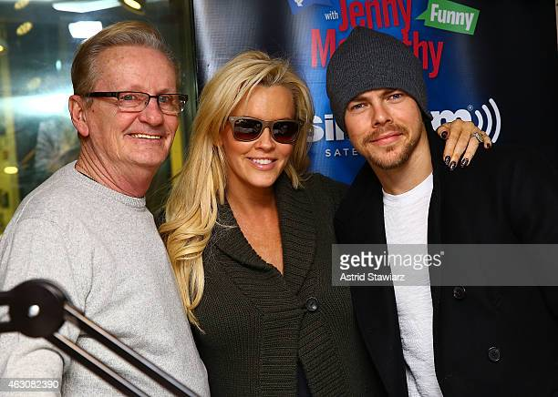 Dan McCarthy Jenny McCarthy and dancer Derek Hough pose for photos during 'Dirty Sexy Funny with Jenny McCarthy' at the SiriusXM Studios on February...