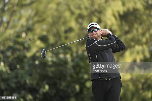 Dan McCarthy tees off on the ninth hole during the second round of The Bahamas Great Exuma Classic at Sandals Emerald Bay Course on January 9 2017 in...
