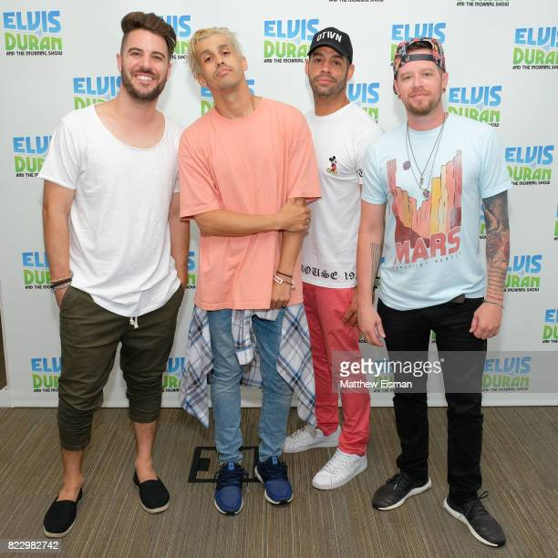 Dan Miller ErikMichael Estrada Trevor Penick and Jacob Underwood of the band OTown pose together for a photo on 'The Elvis Duran Z100 Morning Show'...