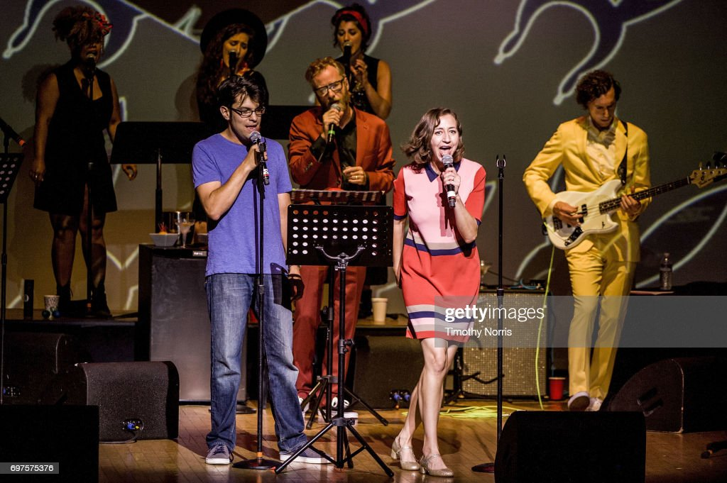 Dan Mintz, Matt Berninger and Kristen Schaal perform with EL VY during Bob's Burgers Live! at Orpheum Theatre on June 18, 2017 in Los Angeles, California.