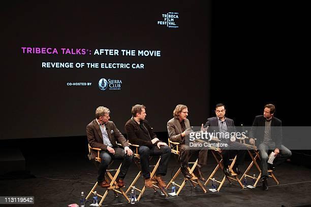 Dan Neil Tesla Motors CEO Elon Musk director Chris Paine CEO of Yokohama Carlos Ghosn and actor David Duchovny speak during the Tribeca Talks After...