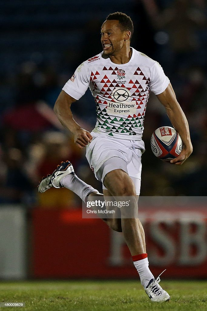 Dan Norton #4 of England celebrates as he runs away to score against Australia during the Tokyo Sevens, in the six round of the HSBC Sevens World Series at the Prince Chichibu Memorial Ground on March 22, 2014 in Tokyo, Japan.