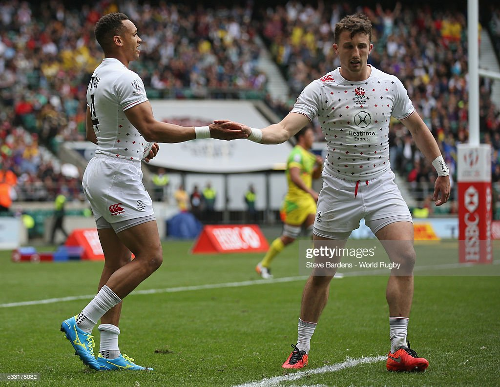<a gi-track='captionPersonalityLinkClicked' href=/galleries/search?phrase=Dan+Norton+-+Rugby+Union+Player&family=editorial&specificpeople=12892328 ng-click='$event.stopPropagation()'>Dan Norton</a> of England (L) celebrates his try during the pool round match between Australia and England during the HSBC London Sevens at Twickenham Stadium on May 21, 2016 in London, United Kingdom.