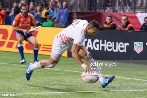Dan Norton of England scores a try against South Africa in the Cup Final on day 2 of the 2017 Canada Sevens Rugby Tournament on March 12 2017 in...