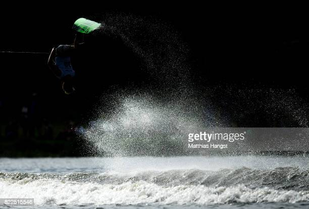 Dan Nott of Great Britain competes during the Wakeboard Freestyle Men's Quarterfinal of The World Games at Old Odra River on July 25 2017 in Wroclaw...