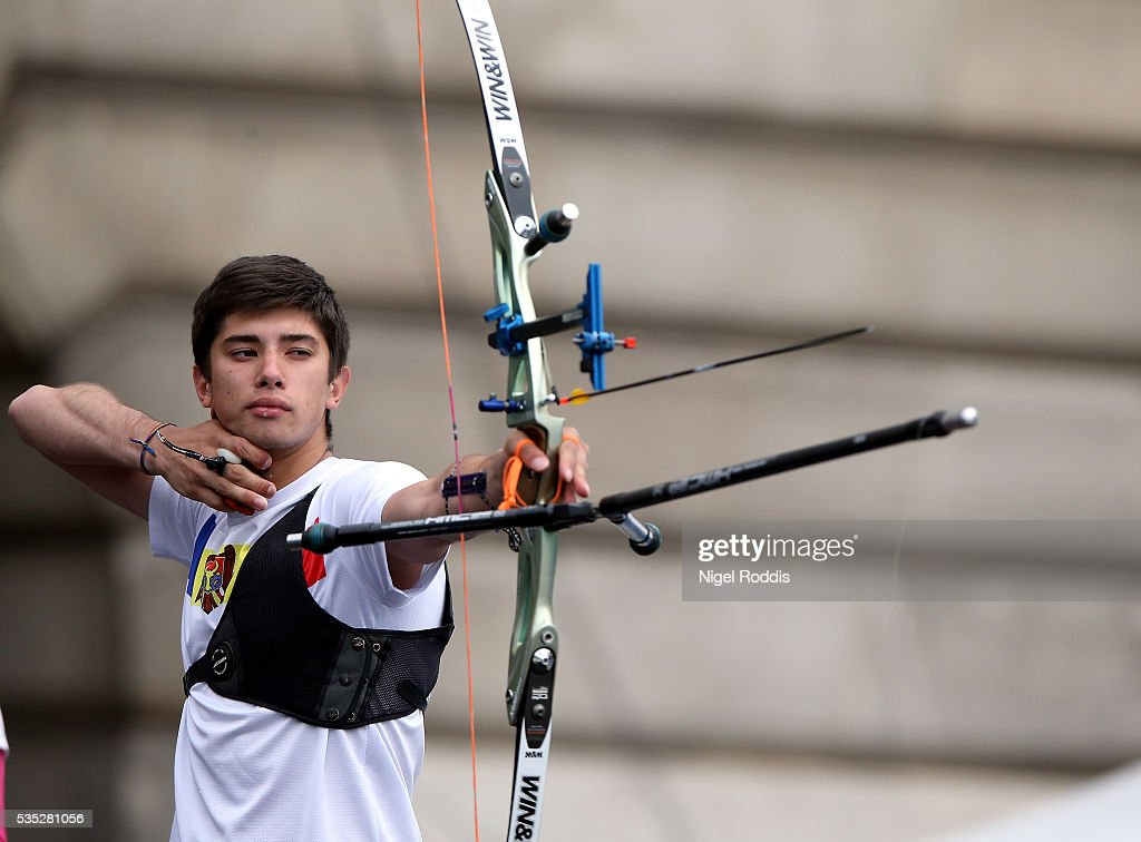 Dan Olaru of Moldova shoots during the Mixed Recurve Goldmedal team match at the European Archery Championship on May 29, 2016 in Nottingham, England.
