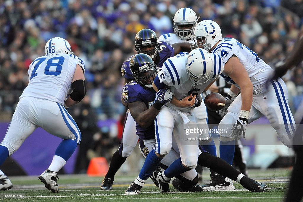 <a gi-track='captionPersonalityLinkClicked' href=/galleries/search?phrase=Dan+Orlovsky&family=editorial&specificpeople=598002 ng-click='$event.stopPropagation()'>Dan Orlovsky</a> #6 of the Indianapolis Colts fumbles the ball while being sacked by <a gi-track='captionPersonalityLinkClicked' href=/galleries/search?phrase=Terrell+Suggs&family=editorial&specificpeople=215464 ng-click='$event.stopPropagation()'>Terrell Suggs</a> #55 of the Baltimore Ravens at M&T Bank Stadium on December 11, 2011 in Baltimore, Maryland. The Ravens defeated the Colts 24-10.