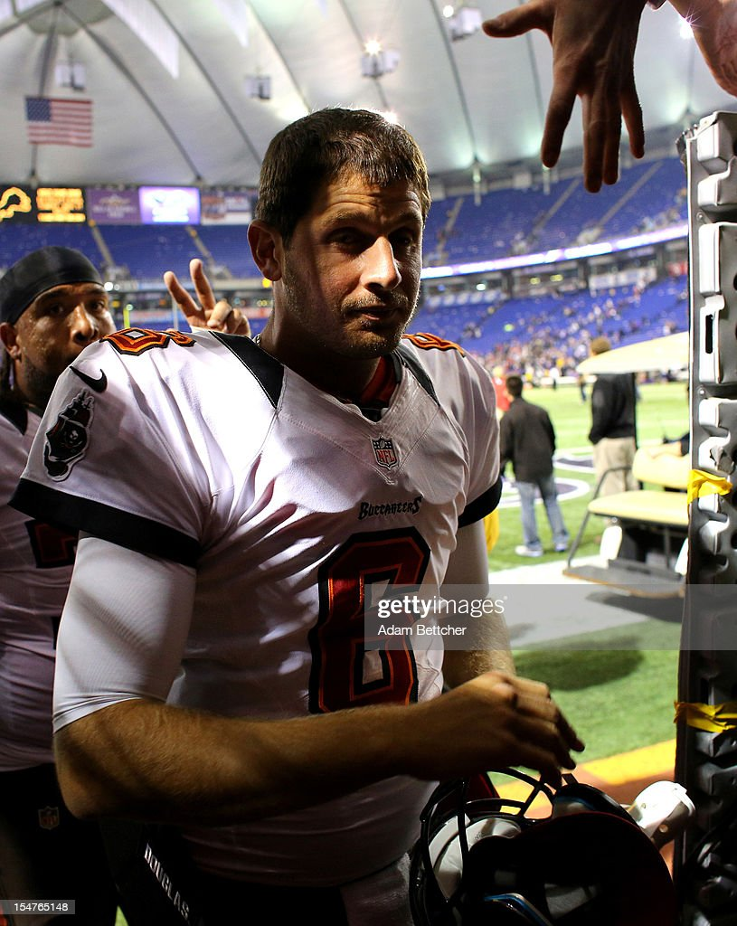 Dan Orlovsky #6 of the Tampa Bay Buccaneers walks off the field after playing against the Minnesota Vikings at the Hubert H. Humphrey Metrodome on October 25, 2012 in Minneapolis, Minnesota.