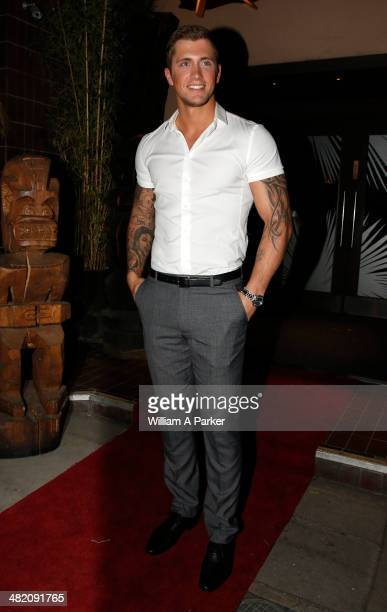 Dan Osborne seen leaving The Only Way Is Essex wrap party held at Kanaloa on April 2 2014 in London England