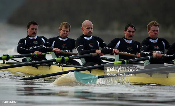 Dan O'Shaughnessy Shane O'Mara John Clay Ryan Monaghan and Fred Gill in action during the Cambridge University Boat Club trial eights race on the...