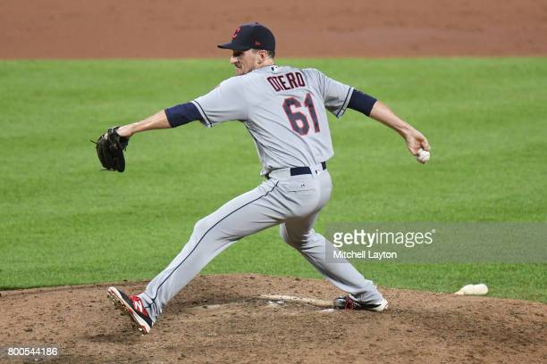 Dan Otero of the Cleveland Indians pitches during a baseball game against the Baltimore Orioles at Oriole park at Camden Yards on June 21 2017 in...