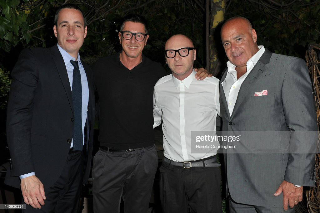 Dan Peres, <a gi-track='captionPersonalityLinkClicked' href=/galleries/search?phrase=Stefano+Gabbana+-+Fashion+Designer&family=editorial&specificpeople=4820355 ng-click='$event.stopPropagation()'>Stefano Gabbana</a>, <a gi-track='captionPersonalityLinkClicked' href=/galleries/search?phrase=Domenico+Dolce&family=editorial&specificpeople=534808 ng-click='$event.stopPropagation()'>Domenico Dolce</a> and Kevin Martinez attend the DETAILS magazine cocktail party at Bulgari Hotel hosted by Dan Peres and Kevin Martinez to celebrate Milan Men's Fashion Week Spring/Summer 2013 on June 23, 2012 in Milan, Italy.