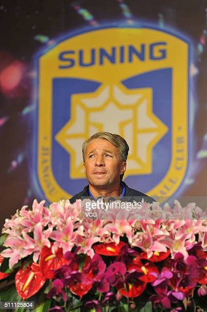 Dan Petrescu head coach of Jiangsu Suning FC attends the mobilization meeting for the AFC Champions League 2016 on February 18 2016 in Nanjing China