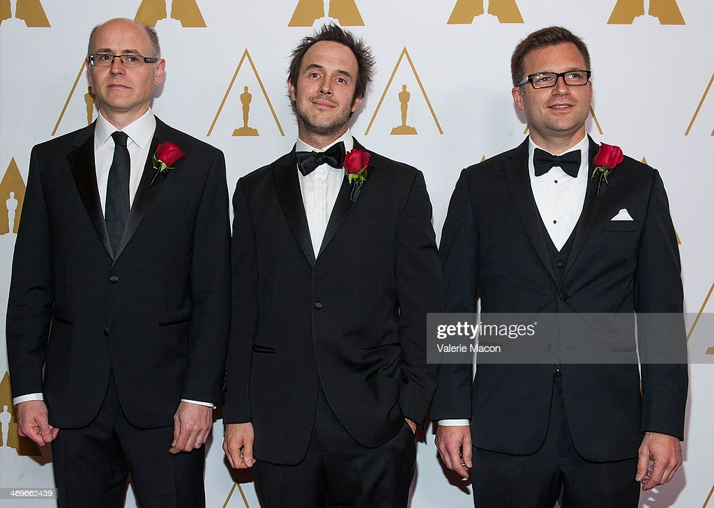 Dan Piponi, Ian Sachs and Olivier Maury arrive at the Academy Of Motion Picture Arts And Sciences' Scientific And Technical Awards Ceremony at Beverly Hills Hotel on February 15, 2014 in Beverly Hills, California.