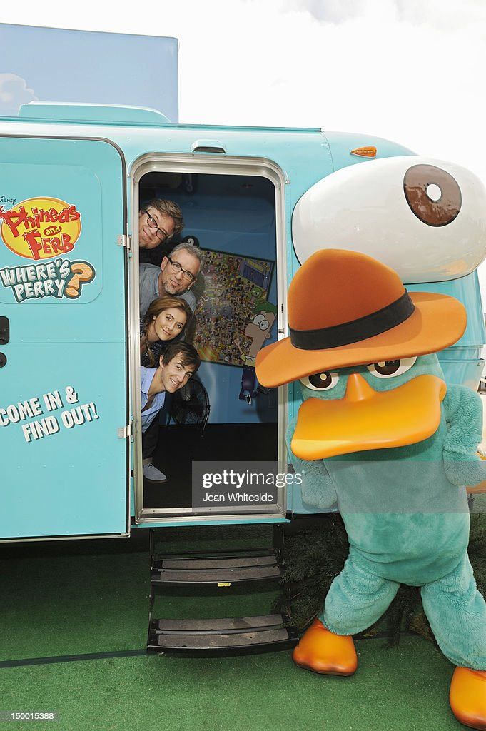 FERB - Dan Povenmire (creator/executive producer & 'Dr. Doofenshmirtz'), Jeff 'Swampy' Marsh (creator/executive producer & 'Major Monogram'), Vincent Martella ('Phineas'), Alyson Stoner ('Isabella') and Perry the Platypus from Disney's Emmy Award-winning animated series 'Phineas and Ferb' meet fans during the 'Perry the Platy-bus On Tour' stop at Chicago's Navy Pier. During the Platy-bus experience, fans of the hit series can virtually interact with characters from the show via augmented reality. Agent P's fate is revealed in the suspense-filled finale of the two-part 'Phineas and Ferb' special 'Where's Perry,' premiering Friday, August 24 on Disney Channel. DAN POVENMIRE (CREATOR/EXECUTIVE PRODUCER, 'PHINEAS AND FERB'), JEFF 'SWAMPY' MARSH (CREATOR/EXECUTIVE PRODUCER, 'PHINEAS AND FERB'), ALYSON