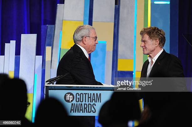 Dan Rather and Robert Redford speak onstage at the 25th IFP Gotham Independent Film Awards cosponsored by FIJI Water at Cipriani Wall Street on...