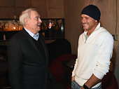 L/R Dan Rather and Tim McGraw attend Big Rich's FIRST EVER Top 10 Back to Back Hits at Mount Richmore on January 12 2016 in Nashville Tennessee