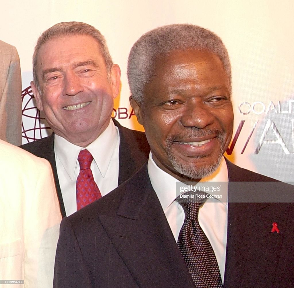 Dan Rather and UN Secretary General Kofi Annan during 2002 Awards For Business Excellence at Chelsea Piers in New York City, New York, United States.
