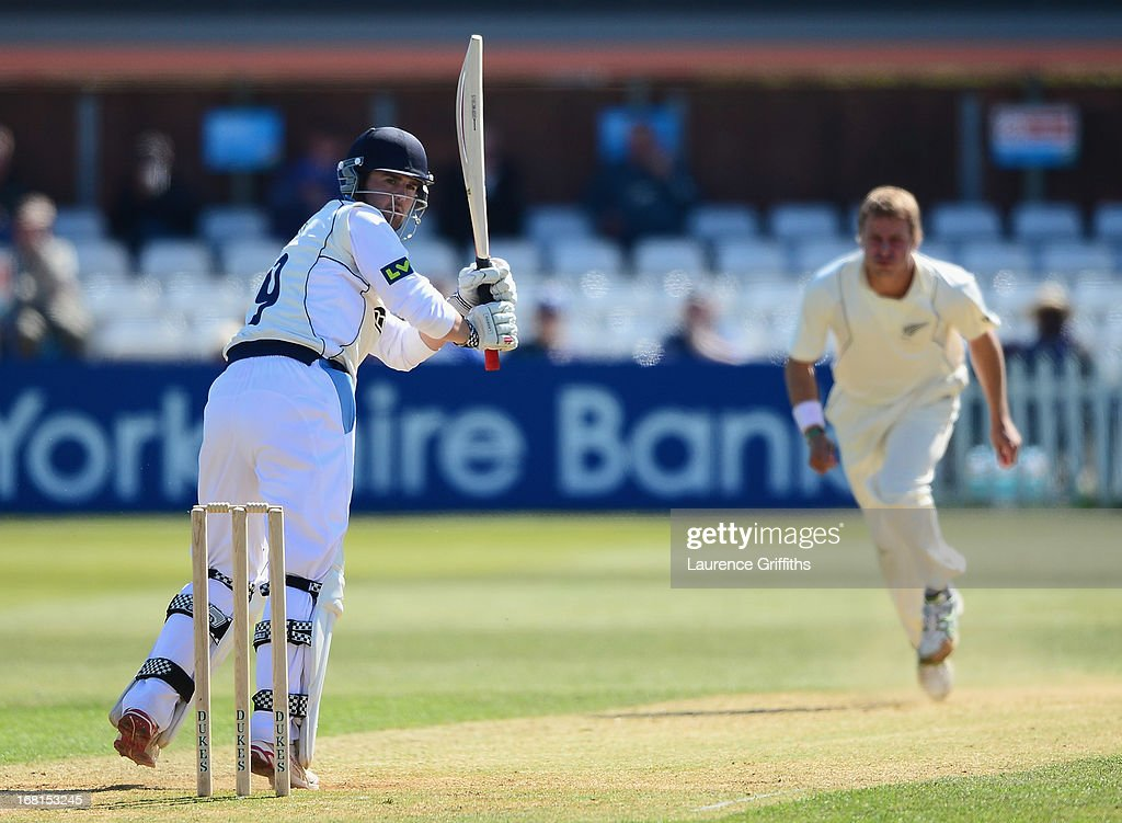 Dan Redfern of Derbyshire hits out off the bowling of Neil Wagner of New Zealand during the Tour match between Derbyshire and New Zealand at The County Ground on May 6, 2013 in Derby, England.