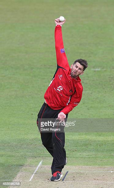 Dan Redfern of Leicestershire bowls during the Royal London One day Cup match between Leicestershire Foxes and Worcestershire at Grace Road on August...
