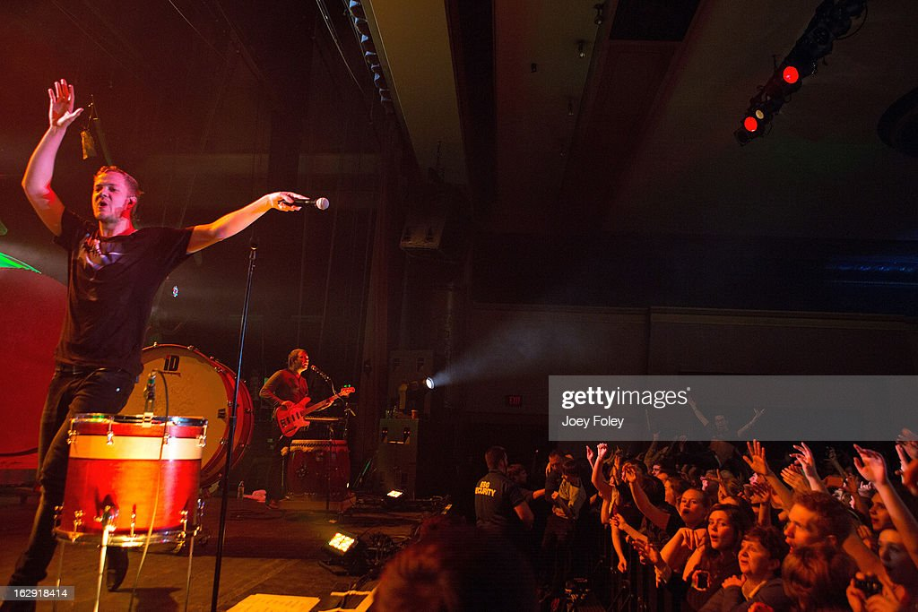 Dan Reynolds and Ben McKee of Imagine Dragons performs at the Egyptian Room at Old National Centre on February 28, 2013 in Indianapolis, Indiana.