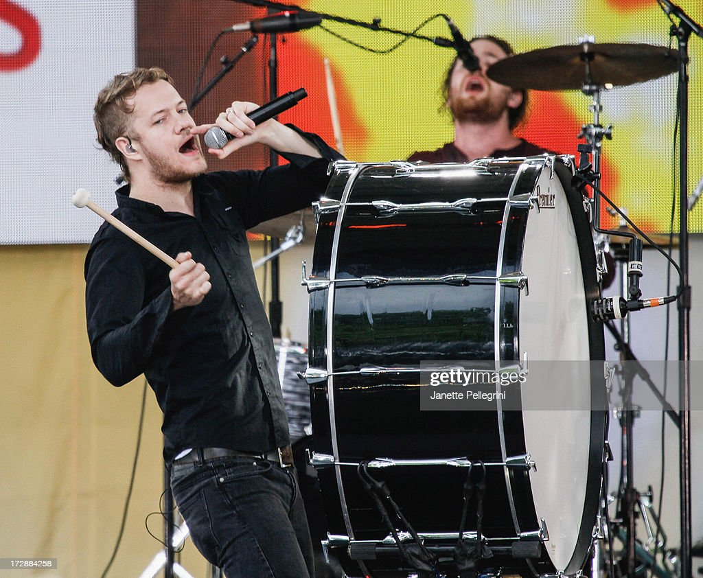 Dan Reynolds and Dan Platzman of Imagine Dragons perform at ABC's 'Good Morning America' at Rumsey Playfield, Central Park on July 5, 2013 in New York City.