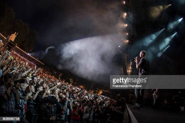 04 Dan Reynolds Imagine Dragons perform on stage on July 4 2017 in Lucca Italy