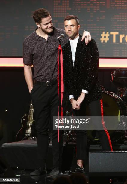 Dan Reynolds of Imagine Dragons and Tyler Glenn of Neon Trees speak onstage during The Trevor Project's 2017 TrevorLIVE LA Gala at The Beverly Hilton...