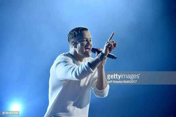 Dan Reynolds of Imagine Dragons onstage during the 2017 American Music Awards at Microsoft Theater on November 19 2017 in Los Angeles California