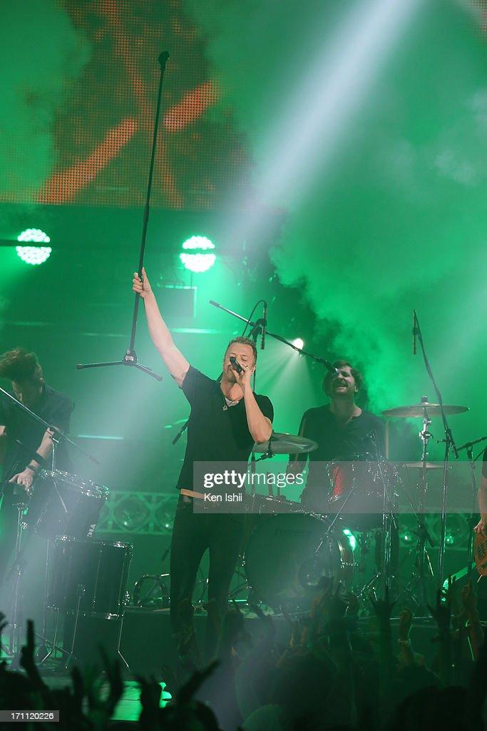 Dan Reynolds of Imagine Dragons perfoms onstage during the MTV VMAJ 2013 at Makuhari Messe on June 22, 2013 in Chiba, Japan.