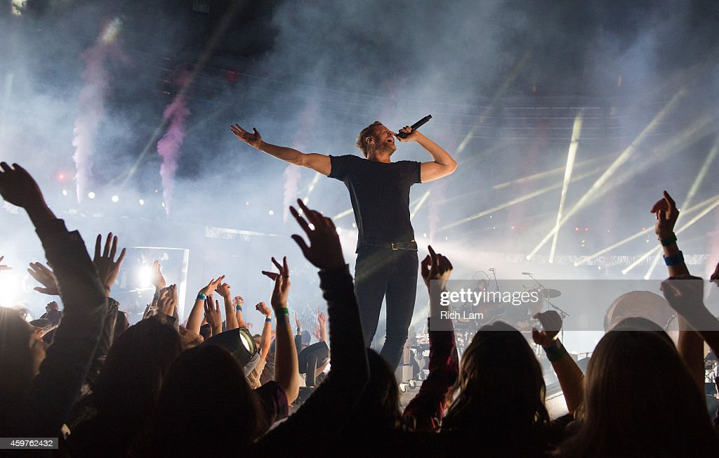 Dan Reynolds of Imagine Dragons perform during the half time of during the 102nd Grey Cup Championship Game between the Hamilton Tiger-Cats and the Calgary Stampeders at BC Place November 30, 2014 in Vancouver, British Columbia, Canada.