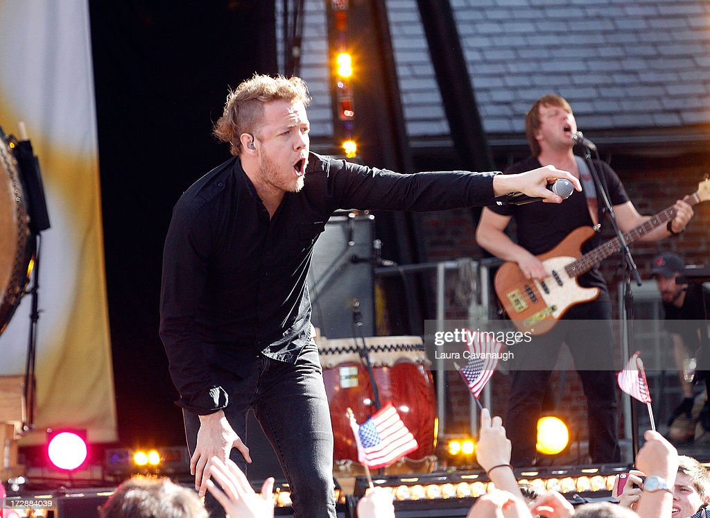 <a gi-track='captionPersonalityLinkClicked' href=/galleries/search?phrase=Dan+Reynolds&family=editorial&specificpeople=8995077 ng-click='$event.stopPropagation()'>Dan Reynolds</a> of Imagine Dragons performs at Rumsey Playfield on ABC's 'Good Morning America' on July 5, 2013 in New York City.
