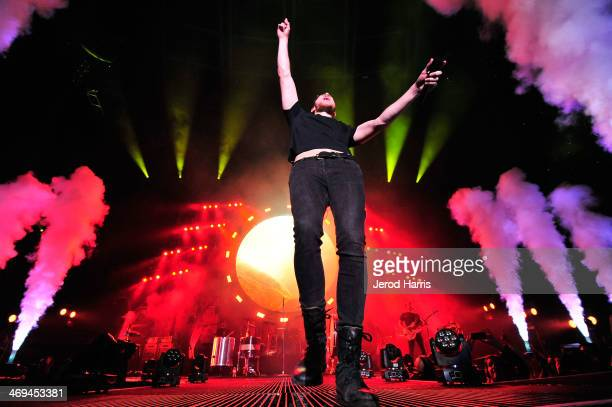 Dan Reynolds of Imagine Dragons performs at The Forum on February 14 2014 in Inglewood California
