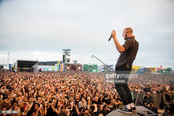 Dan Reynolds of Imagine Dragons performs on NOS stage at day 3 of NOS Alive festival on July 8 2017 in Lisbon Portugal