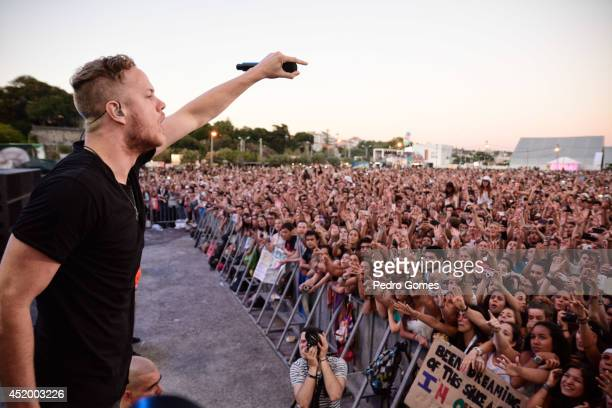 Dan Reynolds of Imagine Dragons performs on stage at Optimus Alive music festival on July 10 2014 in Lisbon Portugal