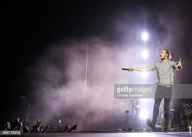Dan Reynolds of Imagine Dragons performs on stage at The O2 Arena on November 4 2015 in London England