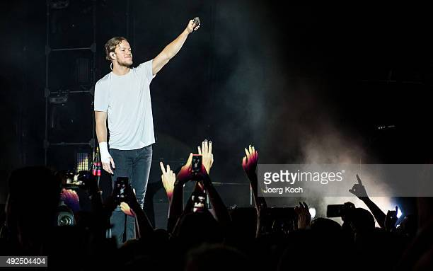 Dan Reynolds of the band Imagine Dragons perform live during a concert at Olympiahalle on October 13 2015 in Munich Germany