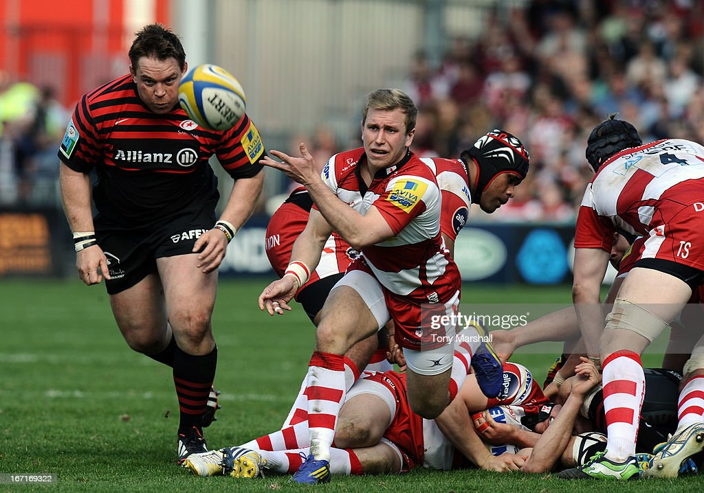 Dan Robson of Gloucester during the Aviva Premiership match between Gloucester and Saracens at Kingsholm Stadium on April 20, 2013 in Gloucester, England.