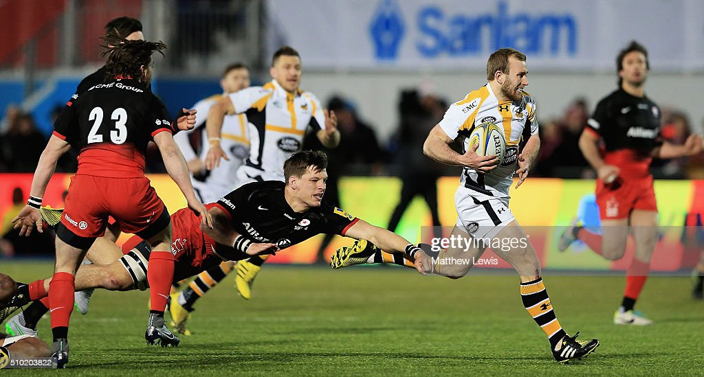 Dan Robson of Waspsbreaks clear to score a try during the Aviva Premiership match between Saracens and Wasps at Allianz Park on February 14, in Barnet, England.